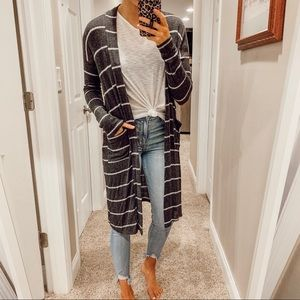 CHARCOAL & GREY DUSTER CARDIGAN